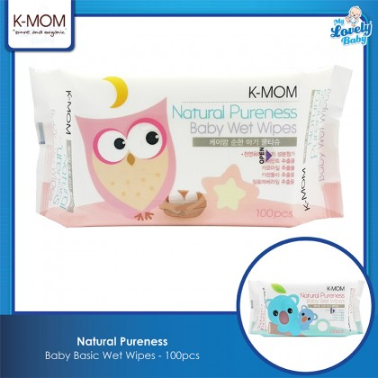 K-Mom Natural Pureness Baby Basic Wet Wipes - 100pcs
