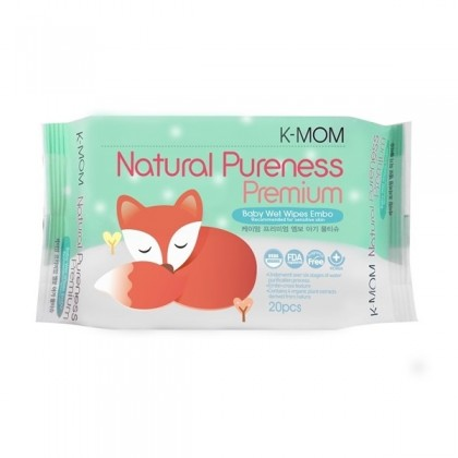 K-Mom Natural Pureness Premium Baby Wet Wipes Embo - 20pcs