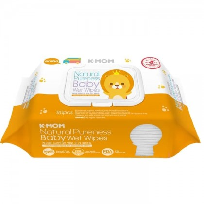 K-Mom Naturefree Premium Baby Wet Wipes Embo Cap - 80pcs